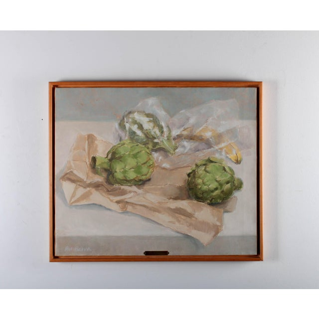 "Contemporary Pat Ralph ""Still Life With Artichokes"" Oil Painting For Sale - Image 3 of 11"