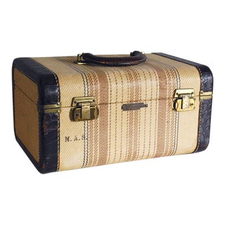 Vintage Tweed Train Case with Leather Trim and Mirror