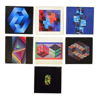 Vintage Mid Century Abstract Op Art Heliogravures-Victor Vasarely-Set of 7 For Sale