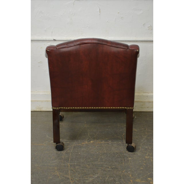 Chippendale Chesterfield Style Tufted Faux Leather Club Chair For Sale - Image 12 of 13