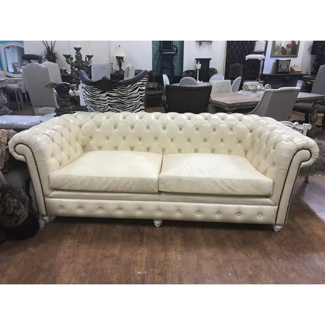 Restoration Hardware New Cream Leather Tufted Chesterfield Sofa For Sale - Image 4 of 4