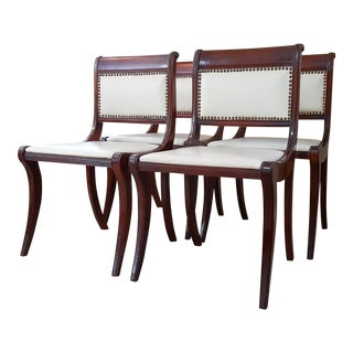 1950s Drexel Mahogany French Empire Style Dining Chairs - Set of 4 For Sale
