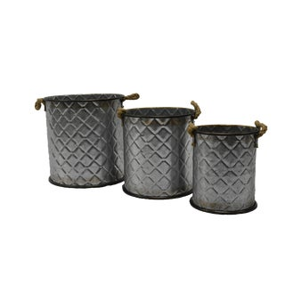 Deco Round Baskets - Set of 3 For Sale