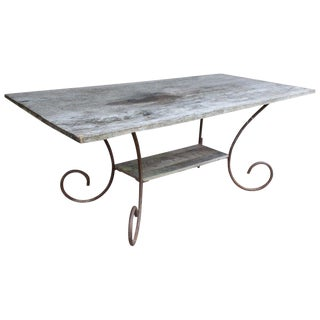 20th Century Cottage Wood and Iron Table For Sale