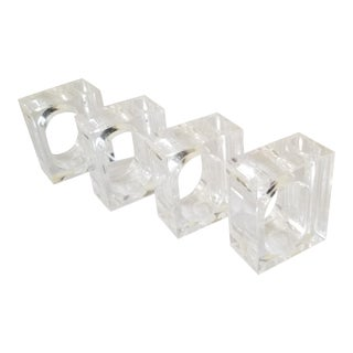 Vintage Mid-Century Lucite Napkin Rings - Set of 4 For Sale