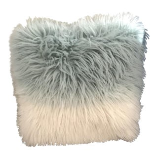 "18"" Aqua and White Watercolor Wash Faux Mongolian Fur Pillow For Sale"