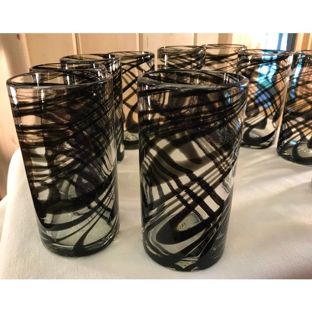 Vintage Hand-Blown Black Swirl Tumbler Glasses - Set of 10 - Image 6 of 11