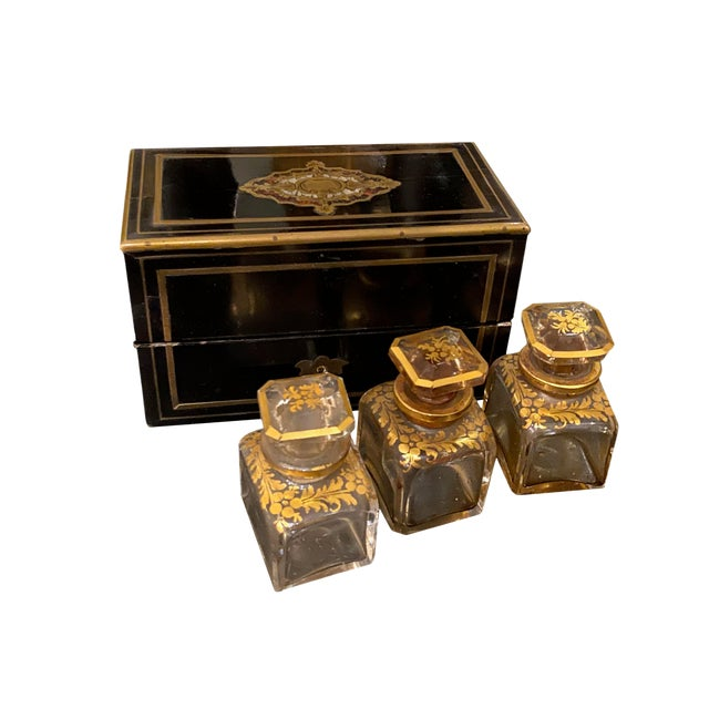 Perfume Box With Three Gilt Painted Perfume Bottles - 4 Pieces For Sale