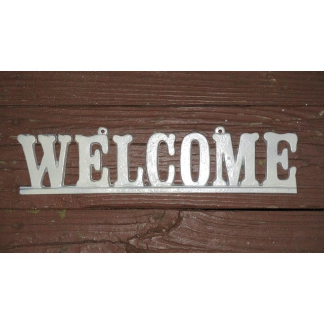 """Vintage Cast Iron """"Welcome"""" Hanging Sign For Sale - Image 4 of 8"""