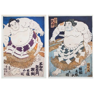 1980s Vintage Sumo Wrestlers Prints by Utagawa Kunisada- A Pair For Sale