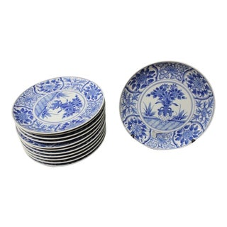 1960s Japanese Blue and White Dinner Plates - Set of 12 For Sale