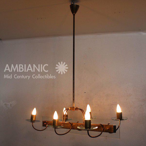 Brass Six Arm Italian Chandelier After Fontana Arte For Sale - Image 7 of 11