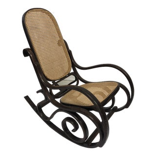 Vintage Mid Century Modern Bentwood Rocking Chair in the Style of Thonet For Sale