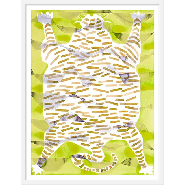 "Contemporary Medium ""Tiger Rug Citron"" Print by Kate Roebuck, 27"" X 35"" For Sale - Image 3 of 3"