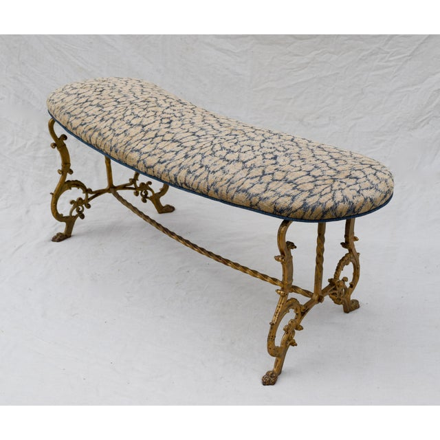 Cotton Gilt Iron Bench in Indigo Blue Leopard For Sale - Image 7 of 13