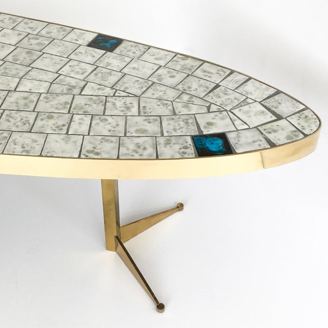 White Italian Brass Tiled Top Surfboard Coffee Table For Sale - Image 8 of 13