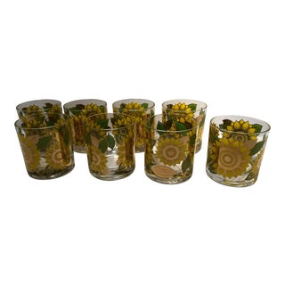 Mid-Century Georges Briard Sunflower Old Fashioned Glasses - Set of 8 For Sale