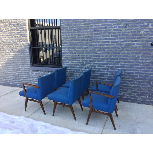 Jens Risom Vintage Walnut Dining Chairs - Set of 6 - Image 7 of 7