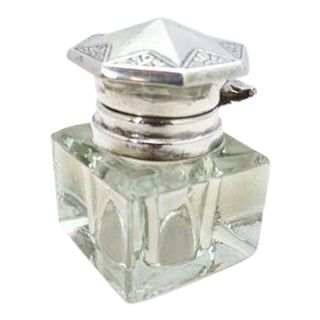 Art Deco Sterling Lidded Crystal Inkwell