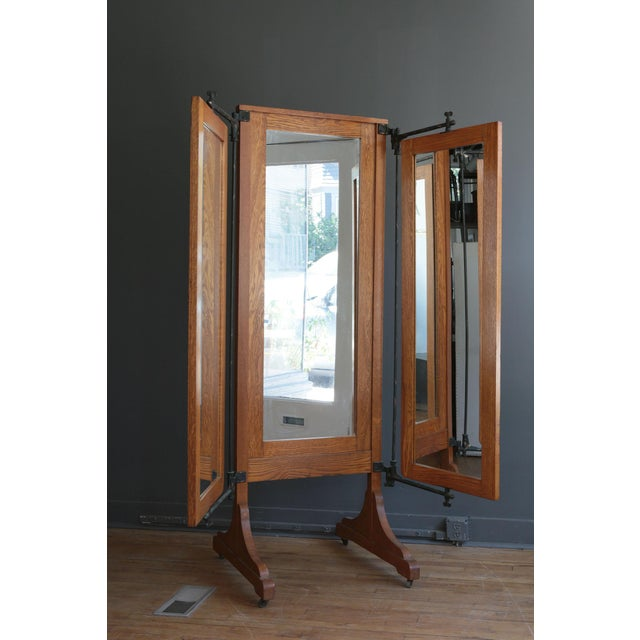 Antique Oak Tri-Fold Dressing Mirror - Image 3 of 4