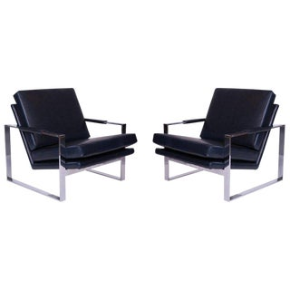 1970s Vintage Milo Baughman Thayer Coggin Leather Lounge Chairs-A Pair For Sale