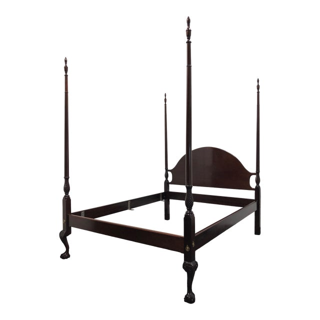 Mahogany Queen Size Chippendale 4 Poster Bed W Open Talon Ball in Claw Feet For Sale