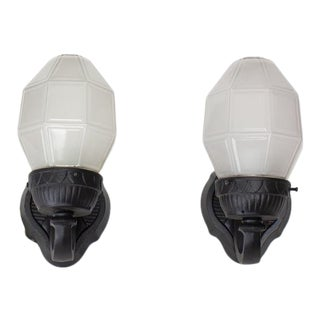 Early 20th Century Cast Iron Exterior Sconces with Octagonal Glass Shades - a pair For Sale