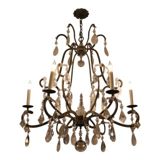 Crystal and Iron Patina 6 Light Chantilly Chandelier For Sale