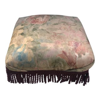 1970s Shabby Chic Ottoman With Fringe For Sale