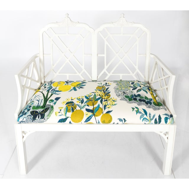 White Chinoiserie Pagoda Motif Newly Upholstered Settee For Sale In New York - Image 6 of 11