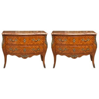 Pair of Louis XV Style Inlaid Commodes For Sale