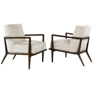 t.h. Robsjohn-Gibbings Walnut Lounge Chairs, Model No. 1721 - a Pair For Sale
