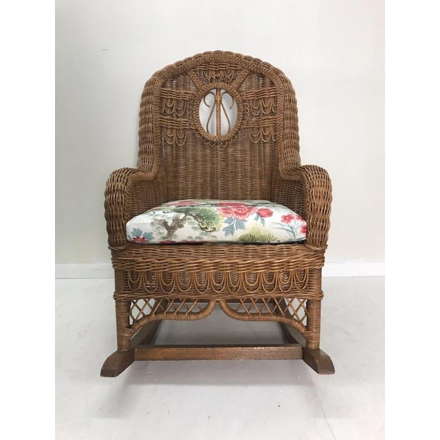 Wicker Vintage Henry Link Rattan Wicker Rocking Chair For Sale - Image 7 of 7