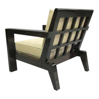 French Mid-Century Modern Grid-Back Lounge Chair in the style of Rene Gabriel