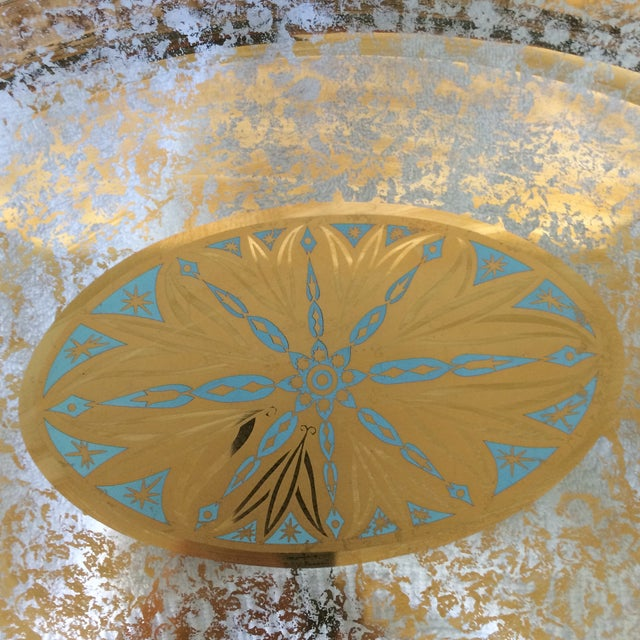 Georges Briard Gold and Blue Serving Dish With Bowl Made by Pyrex - Set of 2 For Sale In Sacramento - Image 6 of 13