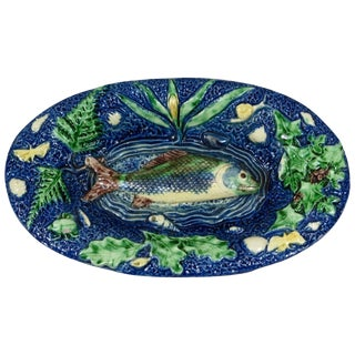 19th Century Victorian Majolica Palissy Fish Wall Platter For Sale