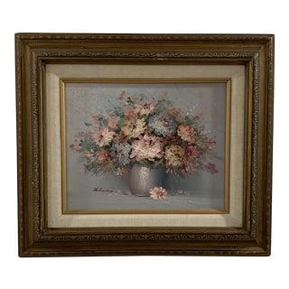 Vintage Original Signed Robert Helman Floral Painting For Sale