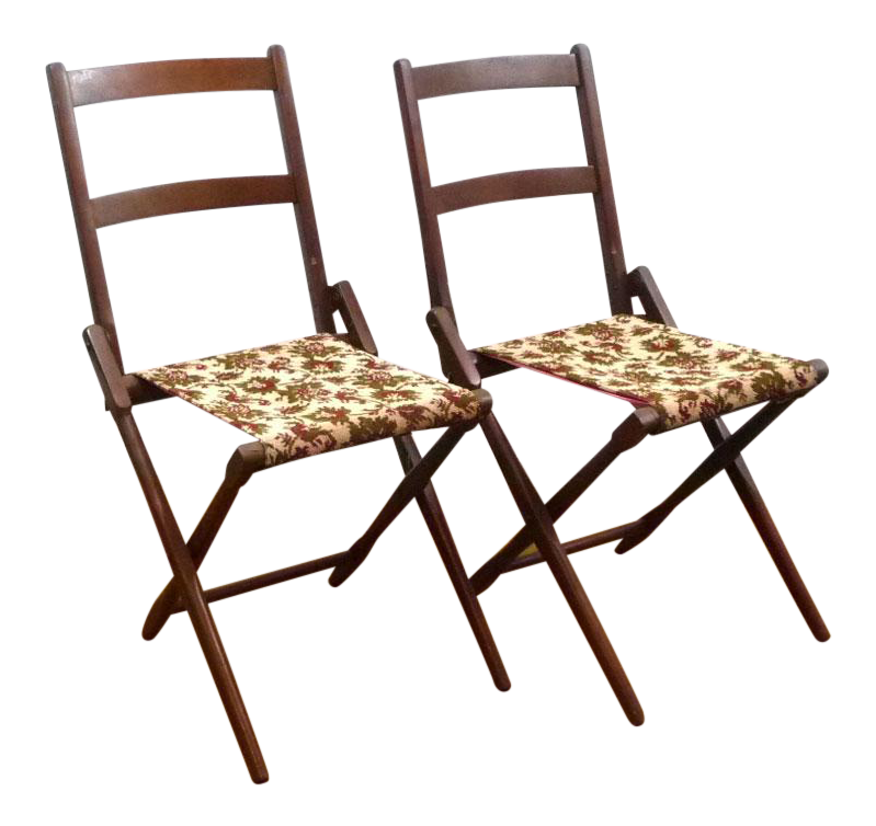 Antique BJ Harrison Folding Deck Chairs   A Pair For Sale