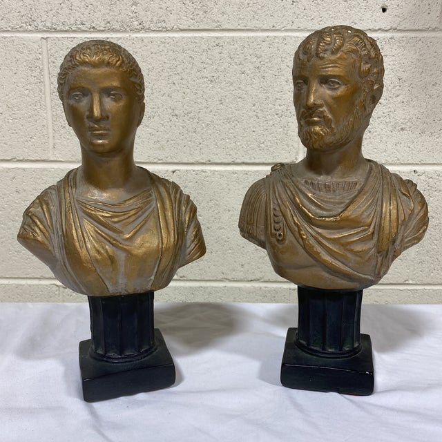Vintage Neoclassical Chalk Ware Gold Leaf Busts - a Pair For Sale - Image 12 of 12