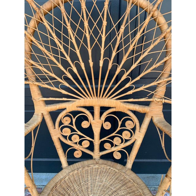 Traditional Early 20th Century Antique Victorian Decorative Wicker Peacock Chiar For Sale - Image 3 of 5