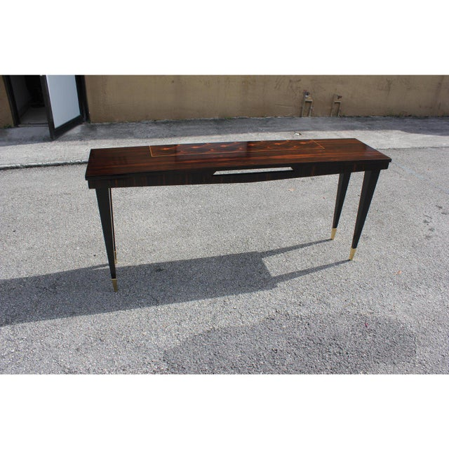 1940s French Art Deco Exotic Macassar Ebony Console Table, Circa 1940s For Sale - Image 5 of 13