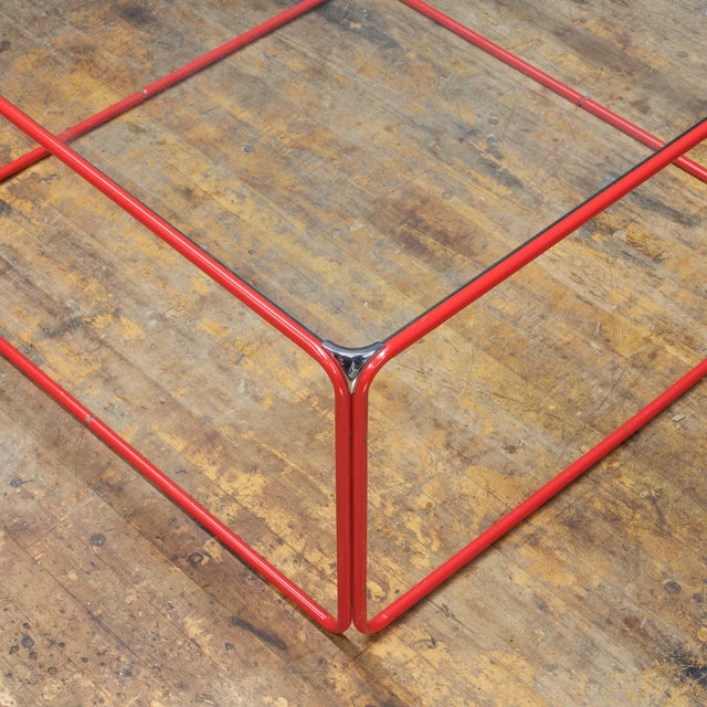 Mid-Century Modern Retro Pool House Cube Table Low Red Tubular Vintage Midcentury Minimal Baughman For Sale - Image 3 of 6