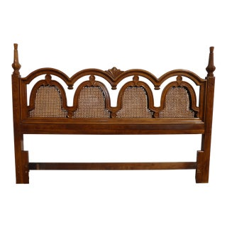 Thomasville Mid-Century Modern French Country Cane King Headboard