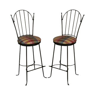 "Charleston Forge ""Shaker Arch"" Pair Iron Swivel Bar Stools For Sale"