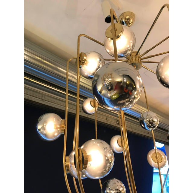 Gold Contemporary Chandelier Brass Cage. Italy For Sale - Image 8 of 11