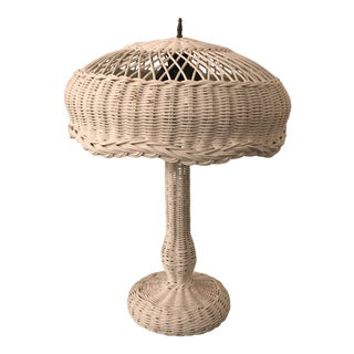 1950s Vintage Wicker Lamp For Sale