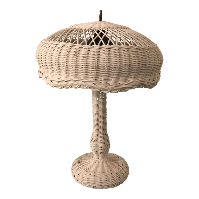 1950s Vintage Wicker Lamp For Sale