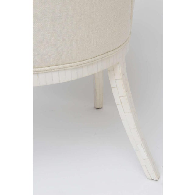 White Pair of Tessellated Bone Armchairs With Silk Upholstery For Sale - Image 8 of 10