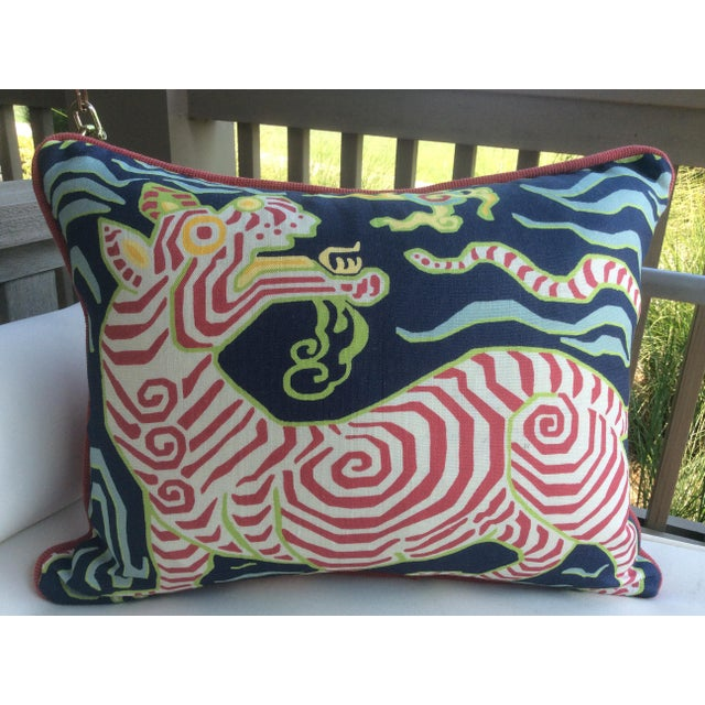 Fabulous printed linen from Clarence House. Tibet Dragon in celadon is a printed linen featuring a stylized dragon on a...