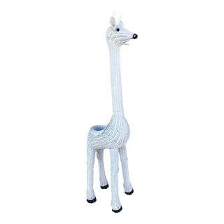 Mid Century Hollywood Regency Giraffe Wicker Planter For Sale